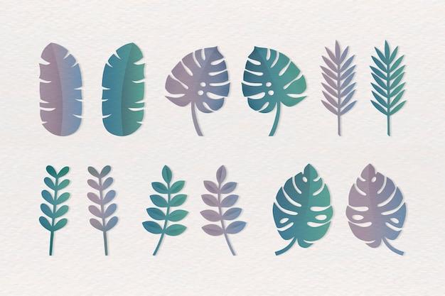 Verschillende tropische bladeren instellen Gratis Vector
