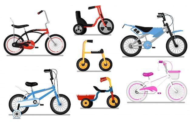 Verschillende types kinderen fiets geïsoleerde vector set Premium Vector