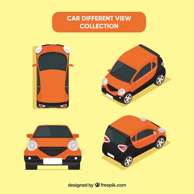 Verschillende uitzichten van kleine oranje auto Gratis Vector