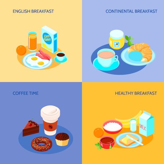 Verschillende varianten van ontbijt pictogrammen platte banner set Gratis Vector
