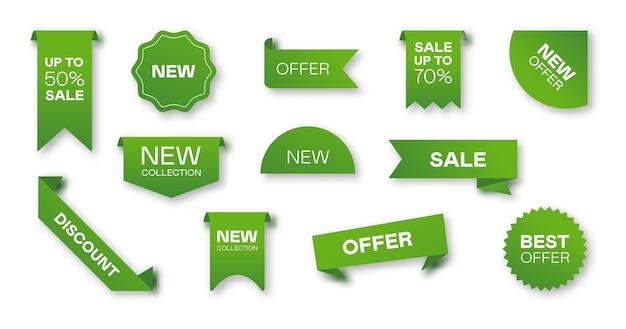 Verschillende verkoop groene linten platte pictogramserie. prijskentekens, speciale aanbiedingetiketten en kortingsstickers geïsoleerde vector illustratieinzameling. promotiesjablonen en ontwerpelementen Gratis Vector