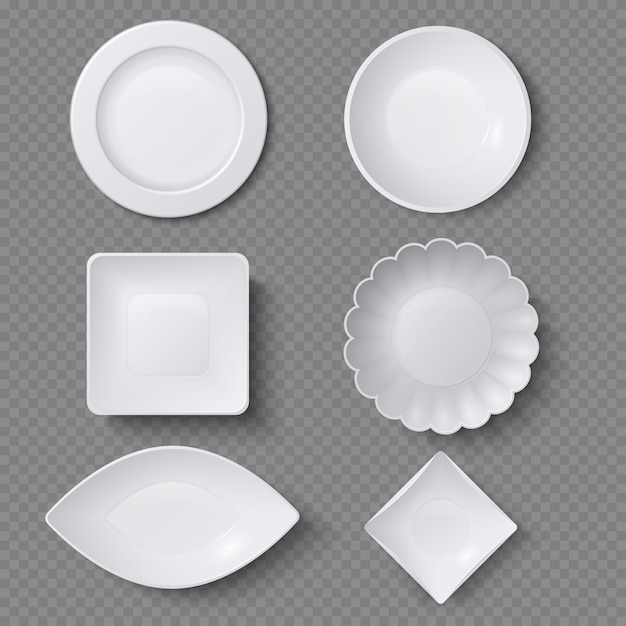Verschillende vormen van realistische voedselplaten, schotels en kommen vectorreeks. plaatschotel voor restaurant, lege werktuig en dishware illustratie Premium Vector