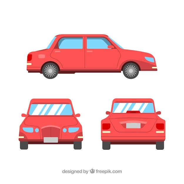 Verschillende weergaven van rode limousine Gratis Vector