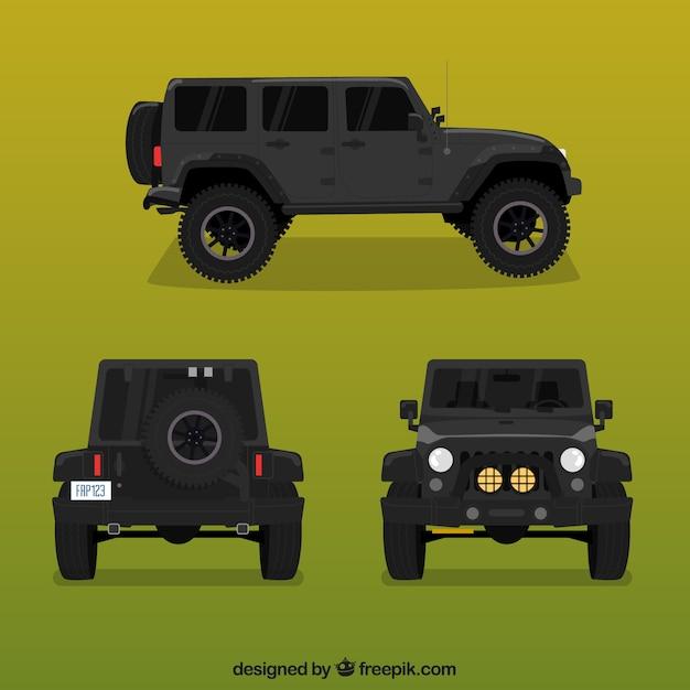Verschillende weergaven van zwarte offroad auto Gratis Vector