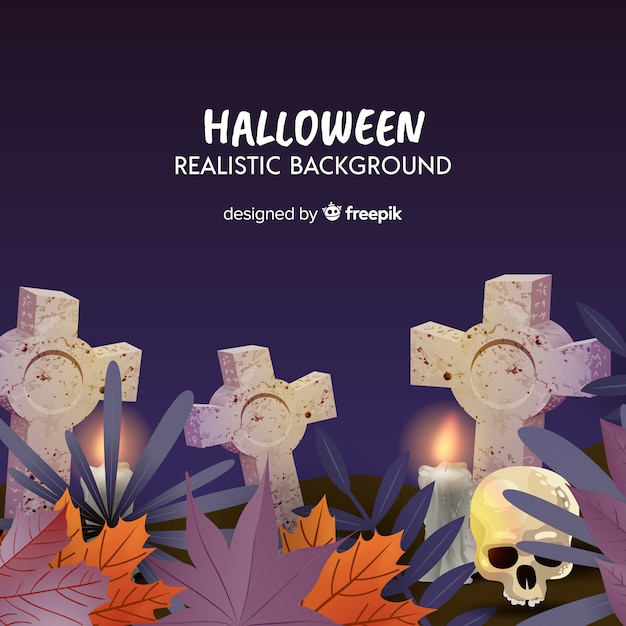 Verschrikkelijke halloween-achtergrond met realistisch ontwerp Gratis Vector