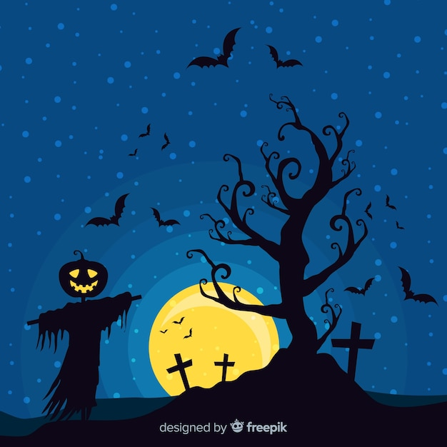 Verschrikkelijke halloween-achtergrond met vlak ontwerp Gratis Vector