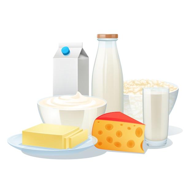 Verse biologische zuivelproducten met kaas en boter Gratis Vector
