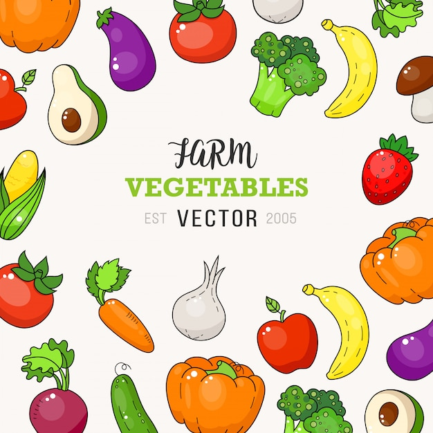 Verse boerderij plantaardige doodle illustratie Premium Vector