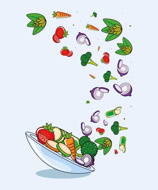Verse en heerlijke set van groenten Premium Vector