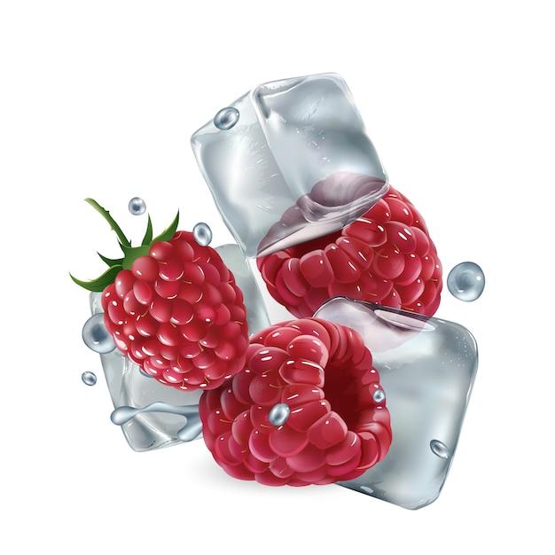 Verse frambozen met ijsblokjes en waterdruppeltjes Premium Vector