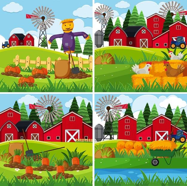 Verse groenten op de boerderijen Premium Vector