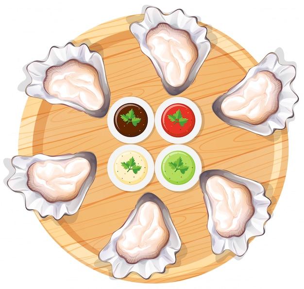 Verse oester op plaat Gratis Vector