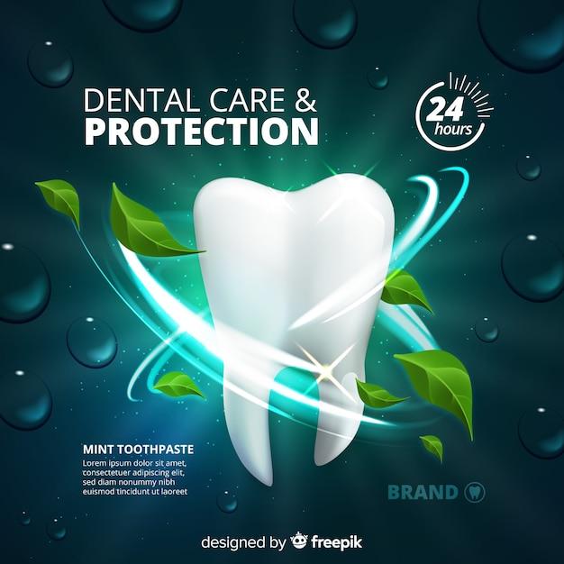Verse tandpasta advertentie realistische stijl Gratis Vector