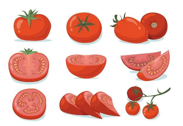 Verse tomaten set Gratis Vector