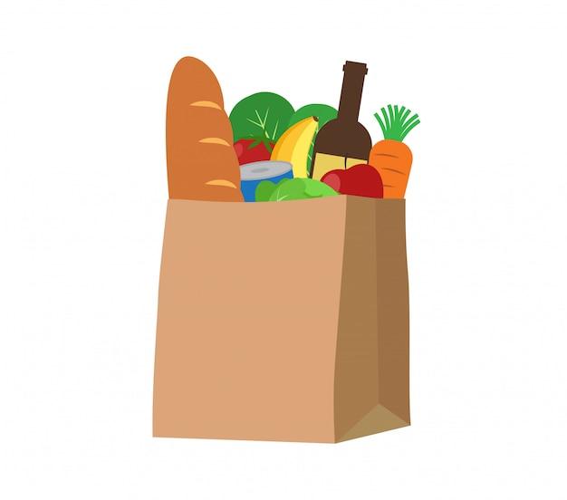 Verse voedsel en drankproducten in een papieren zak Premium Vector