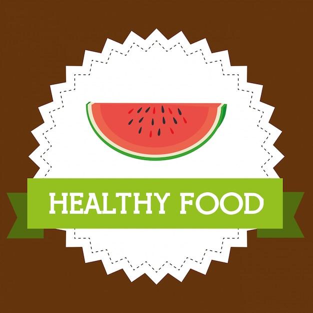Verse watermeloenplak gezond voedsel Gratis Vector
