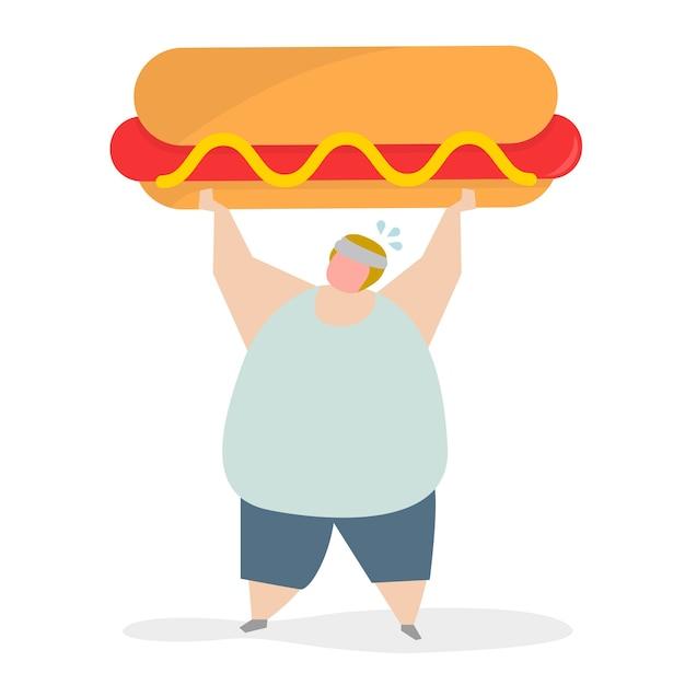 Verslaafd aan junkfood en snacks Gratis Vector