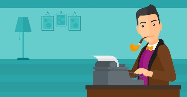 Verslaggever die bij typemachine werkt. Premium Vector
