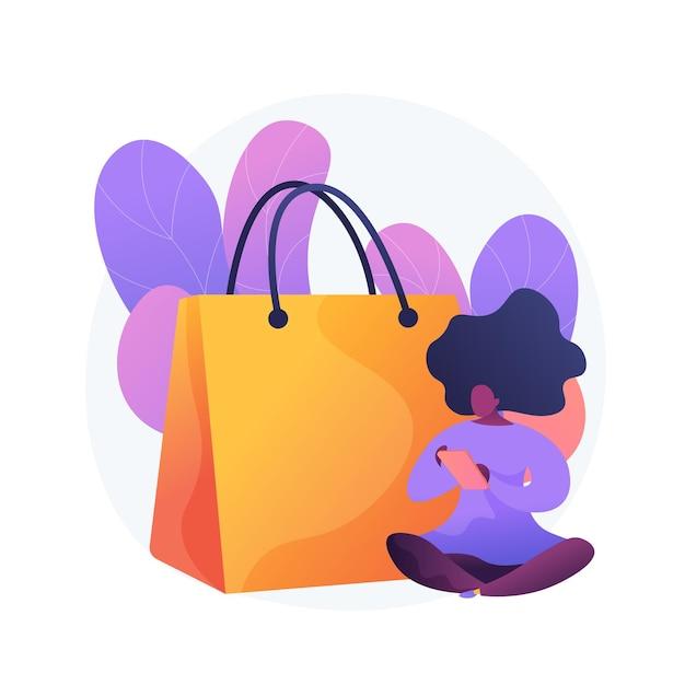 Verslaving aan mobiel winkelen. grote verkoop, online groothandel, lage prijs uitverkocht idee ontwerpelement. digitale winkelklant, shopaholic met smartphone. Gratis Vector