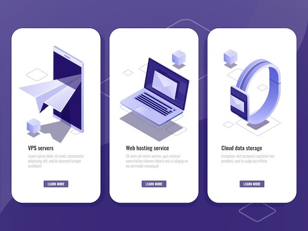 Verstuurd e-mail, online isometrisch pictogram adverteren, slimme apparaten met envelop op scherm Gratis Vector