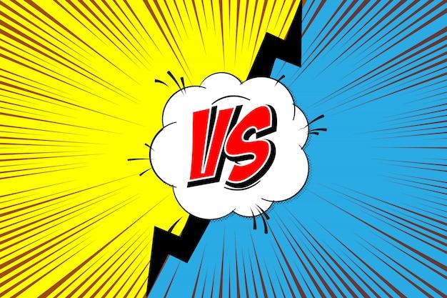 Versus. versus comics-stijl vechten Premium Vector
