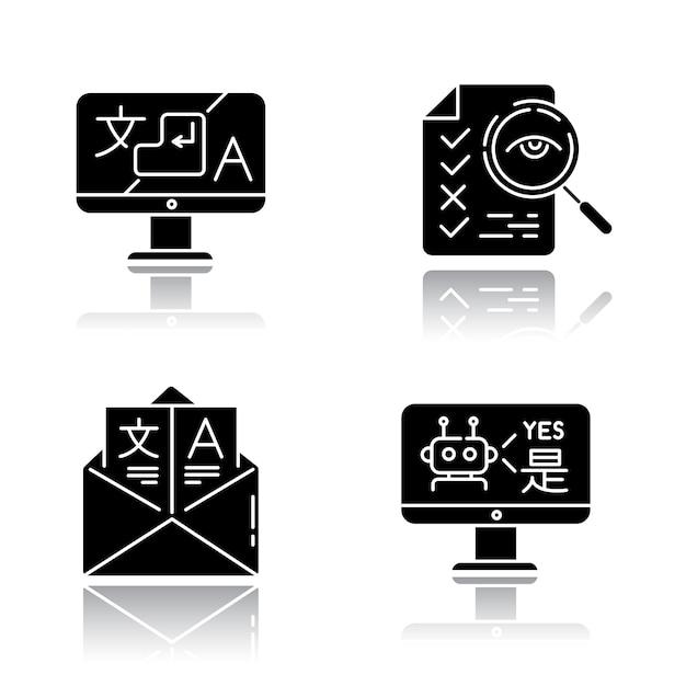Vertaaldiensten slagschaduw zwarte glyph pictogrammen instellen. Premium Vector