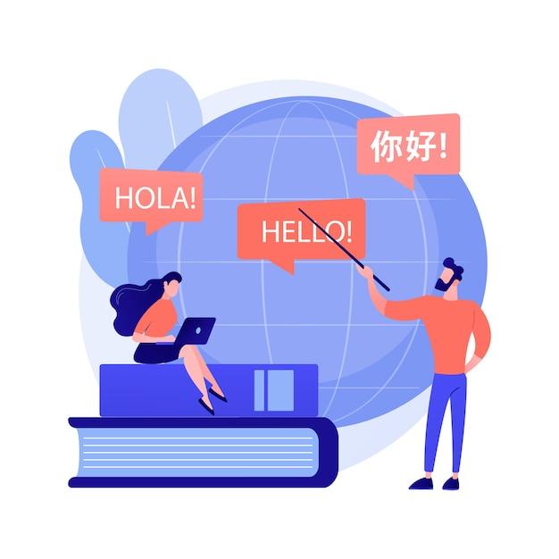 Vertalen van vreemde talen. taalwetenschap, automatische vertaling, uitwisselingsprogramma voor universitaire studenten. talen leren cursussen Gratis Vector