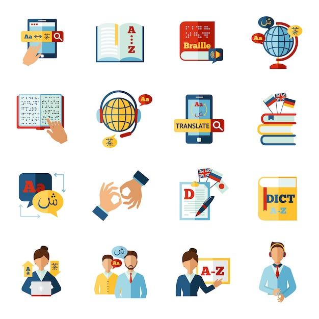 Vertaler icons set Gratis Vector