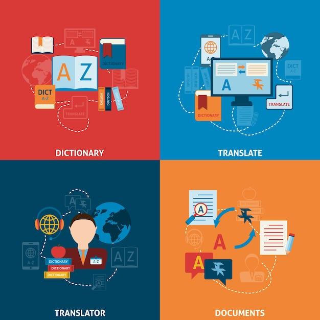 Vertaling en woordenboek plat pictogrammen samenstelling Gratis Vector