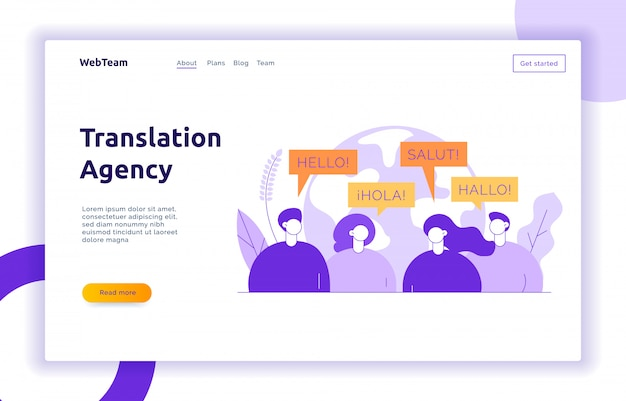 Vertaling ontwerpconcept banner Premium Vector