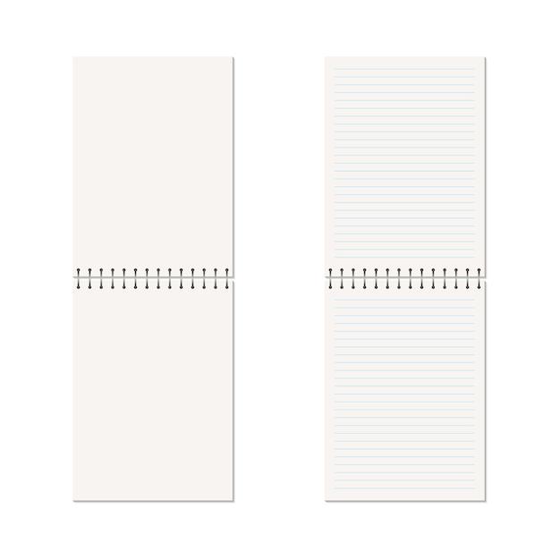 Verticaal leeg voorbeeldenboek met metaalspiraal. Premium Vector