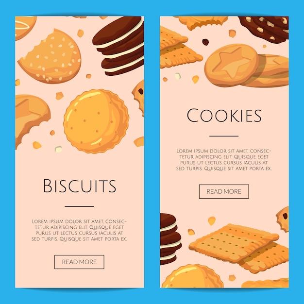 Verticale banner instellen met cartoon cookies Premium Vector