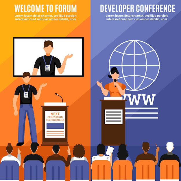 Verticale banner set van de conference hall Gratis Vector