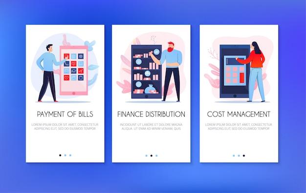 Verticale banners die met mensen worden geplaatst die rekeningen betalen en financiën online verdelen geïsoleerd op blauwe vlakke achtergrond Gratis Vector