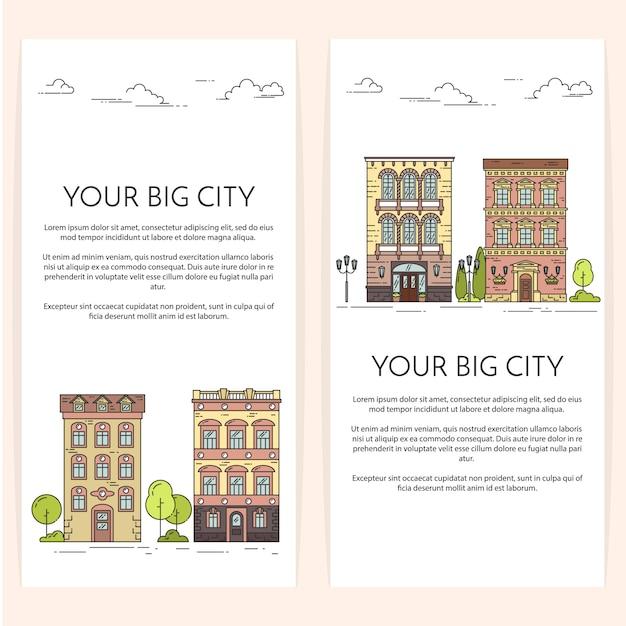 Verticale banners met stadslandschap. huizen en bomen. vector illustratie. vlakke lijntekeningen. Premium Vector