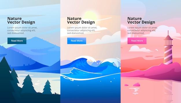 Verticale banners van gradiëntlandschap met bergen en hout. vlakke stijl. Premium Vector