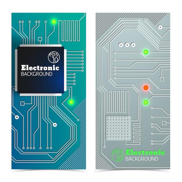 Verticale elektronische bordbanners die in grijze en blauwe kleuren met geïsoleerde felle lichten worden geplaatst Gratis Vector