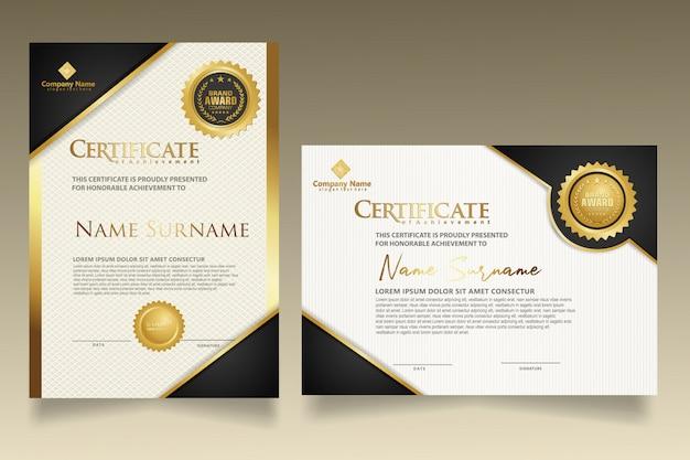 Verticale en horizontale certificaatsjabloon instellen met luxe en elegante textuur moderne patroon achtergrond. Premium Vector