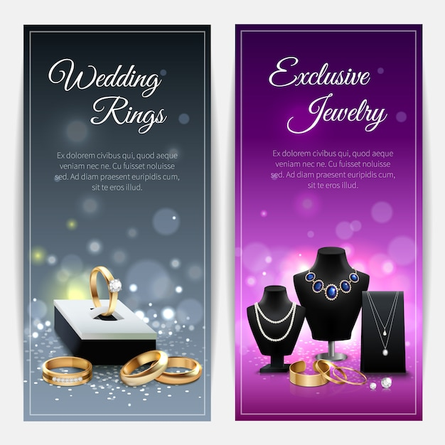 Verticale grijze en paarse realistische banners met trouwringen en exclusieve juwelen Gratis Vector