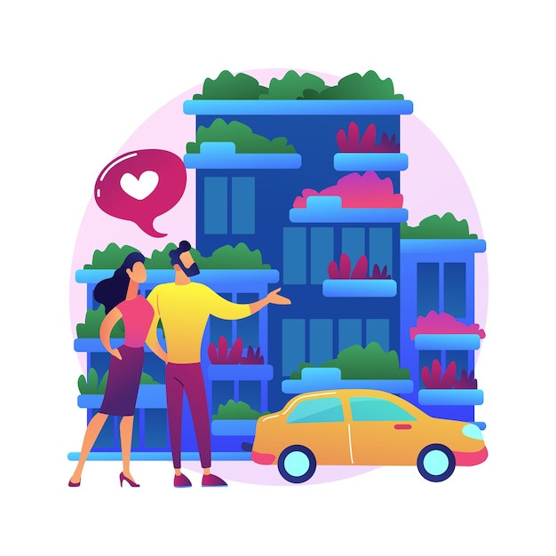 Verticale groene stad abstracte concept illustratie. luchtvervuiling tegen bouwen, ruimtebesparende eco-oplossing, verticaal bos, kosteneffectieve bouwinnovatie Gratis Vector