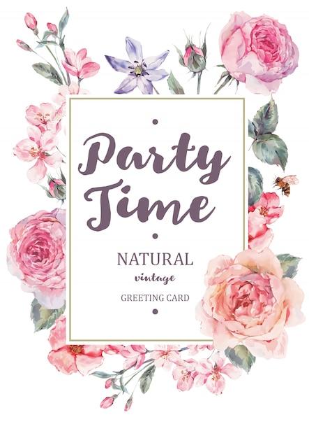 Verticale kaderkaart met roze bloeiende engelse rozen Premium Vector