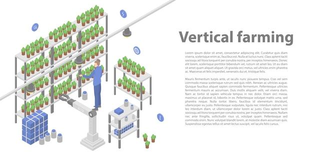 Verticale landbouw concept banner, isometrische stijl Premium Vector