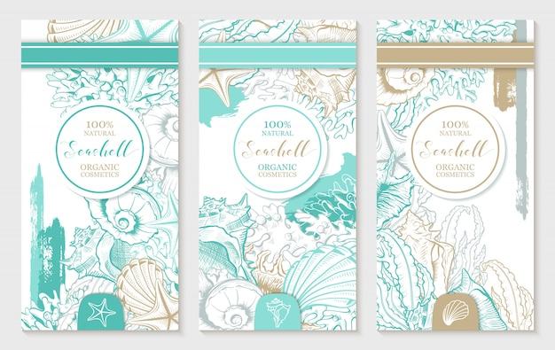 Verticale ontwerpsjabloon met pastel turquoise en gouden schelpen. Gratis Vector