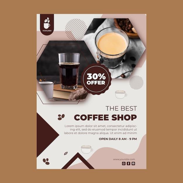 Verticale poster sjabloon voor coffeeshop Premium Vector