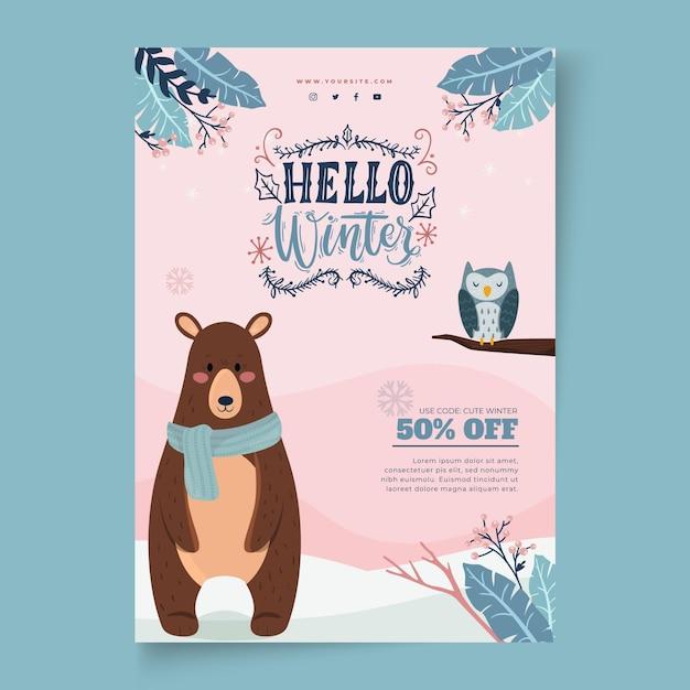 Verticale poster sjabloon voor winterverkoop met beer en uil Gratis Vector