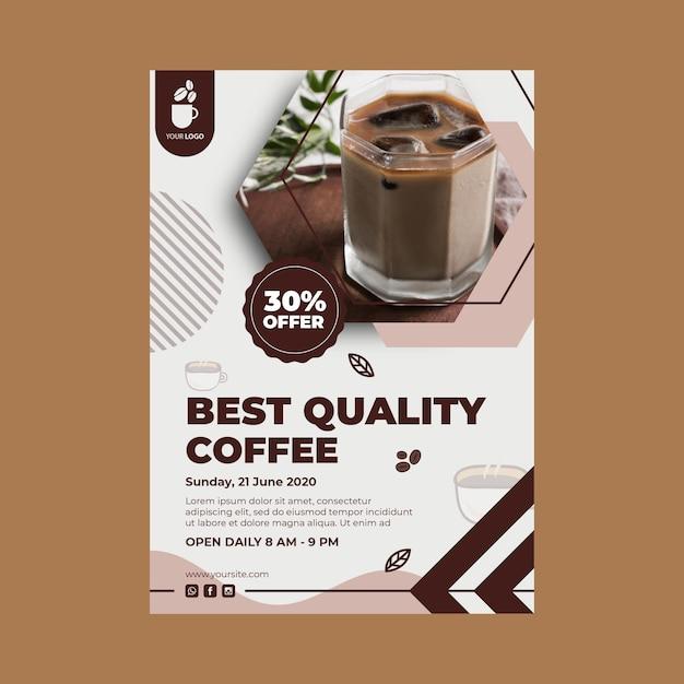 Verticale sjabloon folder voor coffeeshop Premium Vector