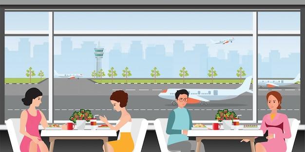 Vertreklounge op de luchthaven. Premium Vector