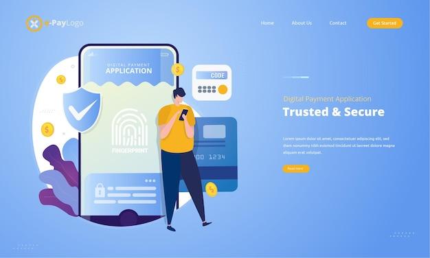 Vertrouwde en veilige digitale betalingsapplicatie met illustratieconcept voor toegangsrechten Premium Vector