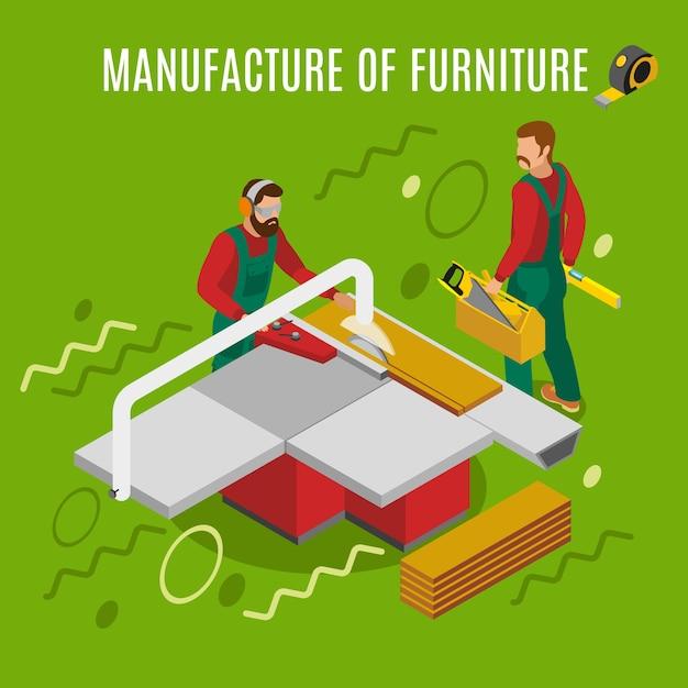 Vervaardiging van meubels, werken aan machines, apparatuur isometrische samenstelling op groen Gratis Vector