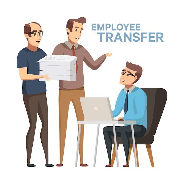 Vervanging van werknemers. werknemer omzet stock illustratie in platte cartoon stijl. baas of manager overdracht van werknemer naar een andere werkplek, jobrotatie. oneerlijk ontslag in het bedrijfsleven. Premium Vector